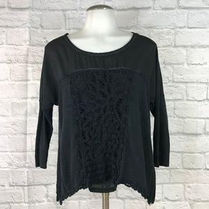 Anthropologie Meadow Rue XS Blouse Black Crochet